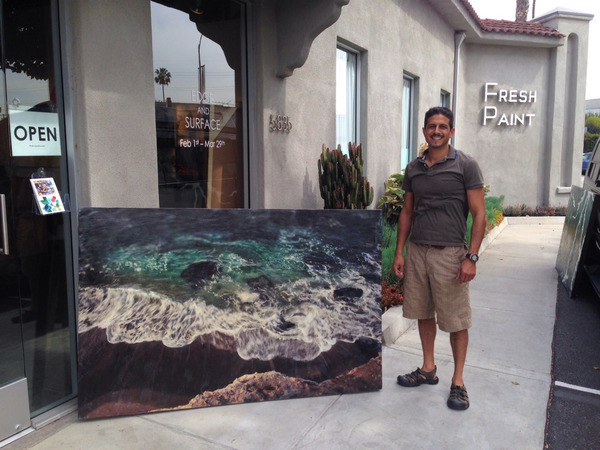 Artist with aquas arcanus Palleo XVI at Fresh Paint Gallery LA